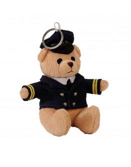 Porta-Chaves Urso de Peluche Piloto com argola